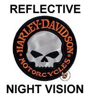 HARLEY DAVIDSON WILLIE G SKULL VEST PATCH ** REFLECTIVE **  NIGHT VISION