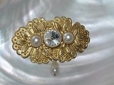 Estate Ornate Goldtone Floral Oblong Medalliion with Faux Pearls & Clear Paste