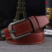 Men's Leather Waistband Casual Luxury Belt Waist Strap Alloy Belts Pin Buck A9Z2