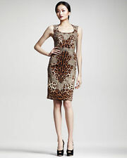 New Dolce & Gabbana Lace Trim Leopard Print Stretch Dress - $2895