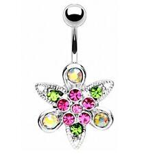 Bauchnabelpiercing Schmuck Stecker Navel Ring Kristall Blume Multicolor