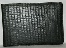 Jet Black Alligator Embossed Leather Zipper 7 Ring Checkbook Binder