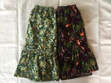 Land's End Girl Corduroy Skirts(2 Total), Yellow/Green & Navy/Orange, Size L(14)