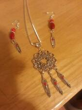 silver chain silver dream catcher/feathers red beads pendantearring