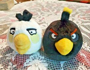 "ANGRY BIRDS White Bird Plush 8"" & Black Bird Plush 8"" Stuffed animals No sound"