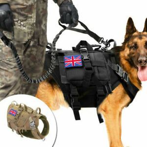 Tactical Dog Harness w/3 Pouches Marking No Pull Training K9 Military Molle Vest