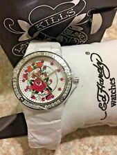 Ed Hardy Dreamer True Love White Ceramic Swarovski Crystal Watch VERY RARE NWT