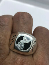 Vintage Wolf Moon Silver Bronze Men's Southwestern Ring Size 13.75