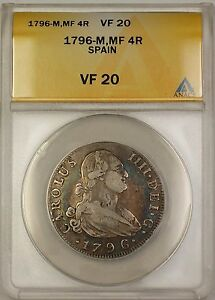1796-M MF Spain 4R Reales Silver Coin Charles IIII ANACS VF-20