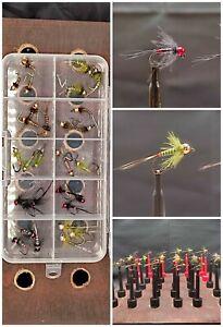 Fliegenbox mit 18 Nymphen und 12 Jig's alle mit Tungsten Beads