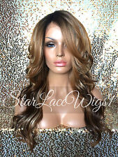 Lace Front Wig Brown Wavy Ombre Auburn Blonde Mixed Highlights Layers Heat Safe
