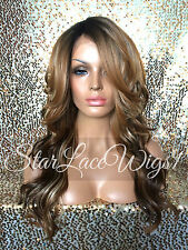 Wavy Lace Front Wig Brown Auburn Blonde Ombre Mixed Highlights Layers Heat Safe