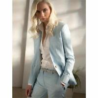 Light Sky Blue Women Business Suits Formal Slim Ladies Office Work 2 Piece Suits
