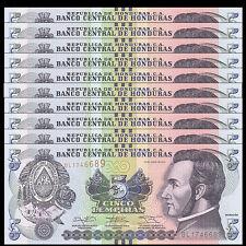 Lot 10 PCS, Honduras 5 Lempira, 2014, P-98 NEW, UNC, 1/10 Bundle