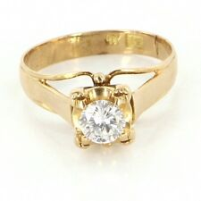 Vintage 18 Karat Yellow Gold Diamond Engagement Right Hand Ring Estate Jewelry