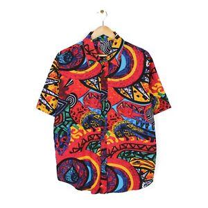 Vintage 80s Mens Crazy Pattern Linen Short Sleeve Button Up Shirt - Size L