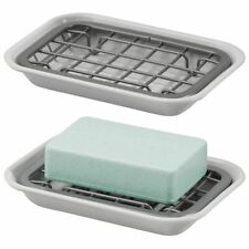 mDesign Metal Kitchen Soap Dish Tray, Drainage Grid & Holder - 2 Pack - Gray