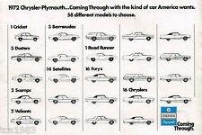 1972 Chrysler PLYMOUTH BROCHURE: DUSTER, CUDA, Road Runner, Cuscinetto, Fury,