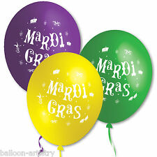 40 Mardi Gras Classic Green Purple Yellow Party Assorted Printed Latex Balloons