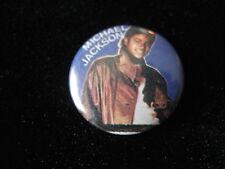 Michael Jackson-Brown Leather Jacket-Pin Badge Button-80's Vintage-Rare