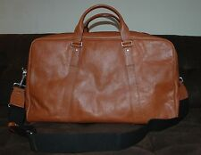Jack Spade medium eaton duffel bag carry on travel gym grain leather saddle $575