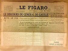 JOURNAL QUOTIDIEN / LE FIGARO N°21 / 13/09/1944 / DISCOURS DU GENERAL DE GAULLE