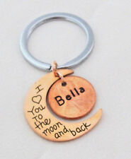 Personalized I Love you to the Moon and Back Rose Gold Moon Keychain Anniversary