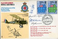RAF 18 Squadron cover signed GREAT WAR ACE + 2 Commanders - UACC DEALER