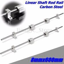 2 Set 8mm 600mm Linear Bearing Shaft Rod Rail + 4 SCS8UU Blocks For Printer CNC