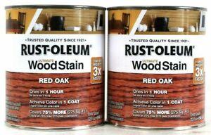(2) Rust-Oleum Ultimate Wood Stain One Coat 205673 Red Oak 32 Oz Dries In 1 Hour