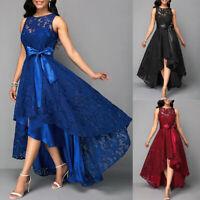 Women Sheer Lace Irregular Dress Sleeveless Party Evening Cocktail Formal Dress