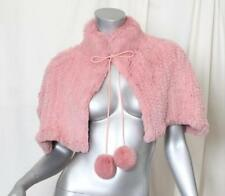 BEAU BOIS Pink FUR Cape Capelet Poncho Sweater+Pom-Poms SUPER SOFT Rabbit S/M