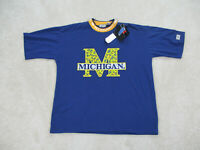 NEW VINTAGE Michigan Wolverines Shirt Adult Large Blue Basketball Mens 90s A3