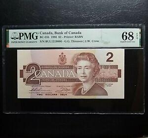 1986 Bank of Canada $2 Banknote BC-55b PMG68EPQ Superb Gem UNC