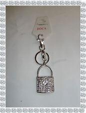 Porte Clés Bijou de Sac Argenté Cadenas Strass Coeurs  Doca Fashion Jewelry