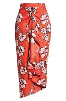 NEW LEWIT Faux Wrap 100%Silk Red Floral Midi Ruffle Skirt Sz 14 NEW $299
