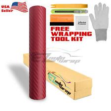 """*48""""x60"""" 3D Matte Red Burgundy Carbon Fiber Textured Vinyl Wrap Sticker Decal"""