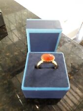 New Oval Red CARNELIAN Faceted Cabochon 925 SILVER Ring Size 8
