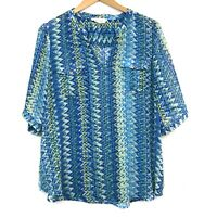 TWO VINCE CAMUTO Ikat Chevron Split Neck Tunic Blue Green 3/4 Sleeve Top Large