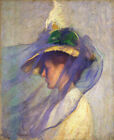 "Edmund Tarbell CANVAS PRINT The Blue Viel Vintage Art painting poster 24""X 36"""