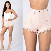 Womens Vintage High Waist Ripped Jeans Distressed Hole Short Jeans Denim Shorts