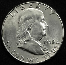 1948-d  Franklin Half Dollar. 100% Fully Separated Bell Line's. Nice BU.  (INV.A
