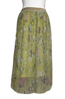 M&S midi sparkle green gold lined size 14 chiffon elastic waist evening party