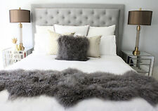 GREY MONGOLIAN SHEEPSKIN FUR BED RUNNER SCARF DOUBLE HIDE PELT TIBETAN LAMBSKIN