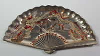 California Chinatown Los Angeles Fan Ashtray Made In Japan Metal Rare Vintage
