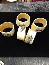 Horn Hand Carved Sterling Silver Mounted Buck Napkin Rings