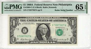 1969 A $1 FEDERAL RESERVE NOTE PHILADELPHIA RADAR SERIAL PMG GEM UNC 65 EPQ