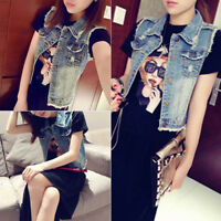 Women's Vintage Denim Bolero Vest Jean Jacket Waistcoat Sleeveless Punk Jacket