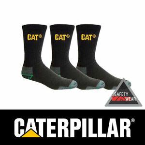 3 x Pairs Cat Bamboo Socks Work Caterpillar Black Anti Bacterial CP235300