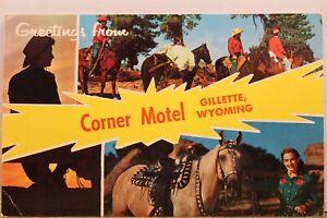 Wyoming WY Gillette Corner Motel Greetings Postcard Old Vintage Card View Postal